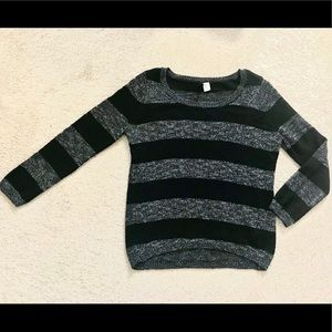 Gray and black striped knit sweater